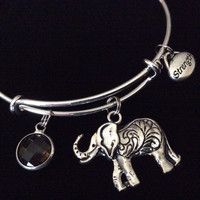 Elephant and Strength Charm on a Silver Adjustable Wire Bangle Bracelet Expandable Trendy Inspirational Stacking Red Crystal