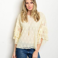 Cream bell sleeve lace ruffle top