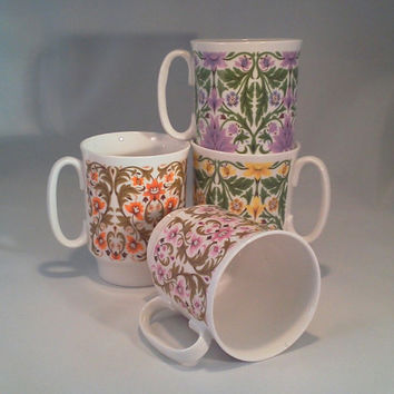 Mugs, Cups, Vintage Royal Windsor Edwardian Series China Coffee Cup, Fine Bone China Floral Pattern