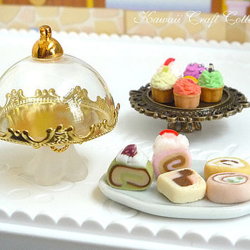 1:12, Miniature, Dollhouse, Glass, Cake, Display, Stand, Platter, Dome, Cupcake, mini, small, tiny, plate, dish, doll, party,