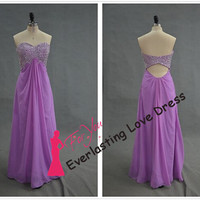 Sweetheart Hand Beading Bodice Empire Waist Lilac Chiffon Prom Dresses Cutout Open Back Evening Dresses Long Party Gown Fit For Formal Gown