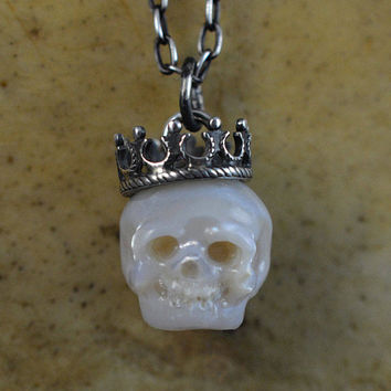 READY TO SHIP - Hand Carved Full Skull Pearl Necklace Wearing Tilted Sterling Silver Crown - Pearl Necklace - Skull Jewelry - Gift