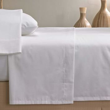 1 new Twin size 66x108 Flat Sheet White T-200 Percale Hotel Linen Breathable, Extra Soft and Comfortable - Wrinkle, Fade and Stain Resistant