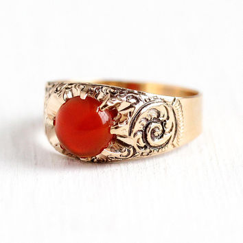 Victorian Carnelian Ring - Antique 10k Rose Gold Dark Red Cabochon 1.64 CT Gem Statement - Men's Vintage Size 9 1/2 Belcher Set Fine Jewelry