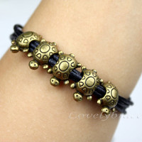 Six black wax rope rope bracelet, hand made five bronze super cute longevity turtle bracelets