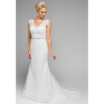 Juliet 339 Cap Sleeve Fit and Flare Wedding Dress White