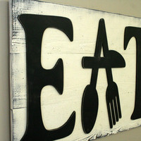Eat Sign Pallet Sign Distressed Wood Shabby Chic Country Chic Vintage Handmade Handpainted Wood Sign Home Decor Kitchen Decor Rustic Sign