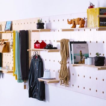Multi Purpose Wooden Wall Board, Hook And Rack