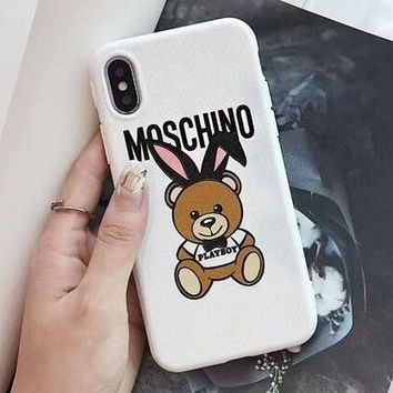 MOSCHINO Fashionable Women Cute Rabbit Teddy Bear Mobile Phone Cover Case For iphone 6 6s 6plus 6s-plus 7 7plus 8 8plus X XSMax XR White