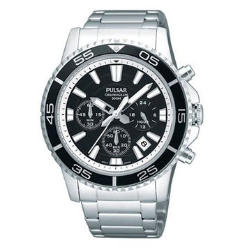Pulsar PT3033 Men's Black Dial Chronograph Stainless Steel Watch