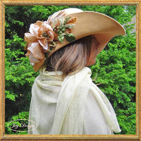 Peachy Camel Couture Floppy Brim Rabbit Felt Hat Handmade in Traditional Millinery Fashion with Handmade Ecru and Metallic Open Weave Scarf