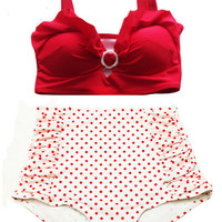 Red Padded Top and White Red Polka dot Dots High-waist waisted Shorts Bottom Vintage Retro Swimsuit Swimwear Bikini set Swimsuits S M L