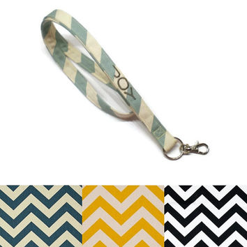 Personalized chevron lanyard- CHOOSE your colors, key chain lanyard, ID badge lanyard, under 10 gift . teacher gift idea,personalized gift