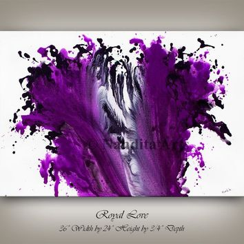 Purple Original ABSTRACT MODERN ART Contemporary Painting on canvas, fuchsia color wall art decor 24x36 Ready to Hang Artist Nandita