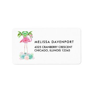 Pink Flamingo Palm trees and Succulents Label