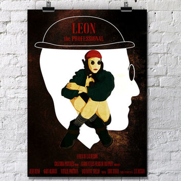 FREE SHIPPING. Oversized Unofficial movie Poster Leon the Professional, Size: A1,A2,A3, A4. Wall Art, Natalie Portman, Jean Reno, Film, Pop