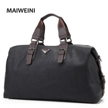 MAIWEINI Vintage Men's Travel Bags Man Traveler Duffle Large Capacity Business Luggage Waterproof PU Leather Weekender Bag