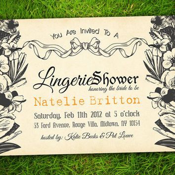 Vintage Flowers, Leaves Floral Lingerie Bridal Shower / Bachelorette Party / Couple Shower /  Birthday Invitation Card - DIY Printable