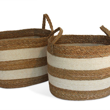 "JUT004-BWHT: Oval Laundry Tote Basket (set of 2) with loop Handle Material:  Size: Large-19.5X14X13"","