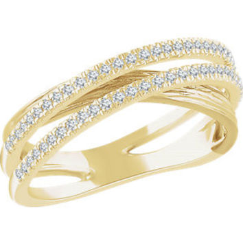 14K White & Yellow 1/4 CTW Diamond Criss Cross Ring