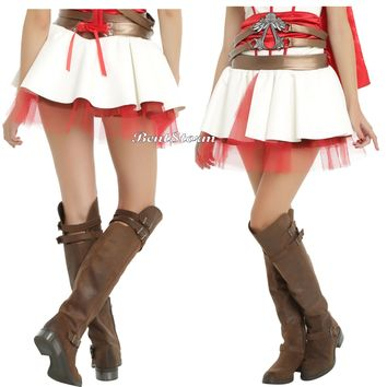 Licensed cool Assassin's Creed Costume Cosplay Faux Leather Tutu Skirt Red Tuelle JRS L/XL NWT