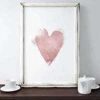 Rose Gold Heart Print Pink Wall Art Love Heart Art Rose Gold Decor Nursery Party Wedding Sign Home Decor Gift For Her Affiche Scandinave