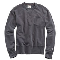 Classic Garment Dyed Pocket Sweatshirt in Faded Black