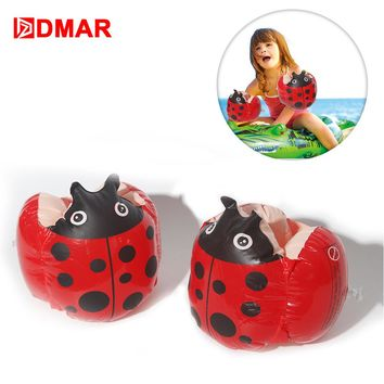 DMAR Inflatable Ladybug Frog Swimming Arm Bands Float For Kids Baby Pool Float Toys Infants Swimming Ring Beach Sea Water Party