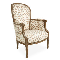 Germaine Occasional Chair, Ivory/Taupe, Acrylic / Lucite, Accent & Occasional Chairs