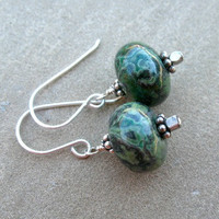 Green Earrings Sterling Silver Jewelry Forest Green Rhyolite Beaded Earrings