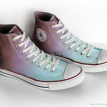 Ombr¨¦ dip dye Converse All Stars, turquoise, purple, mocha brown, upcycled vintage sne