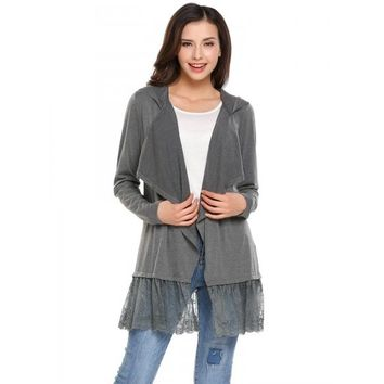 Long Sleeve Open Front Draped Lace Trim Hooded Cardigan