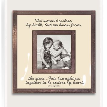 """We Weren't Sisters By Birth 3""""x 3"""" Copper & Glass Photo Frame"""