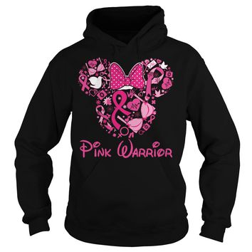 Mickey and Minnie: pink warrior breast cancer disney shirt Hoodie