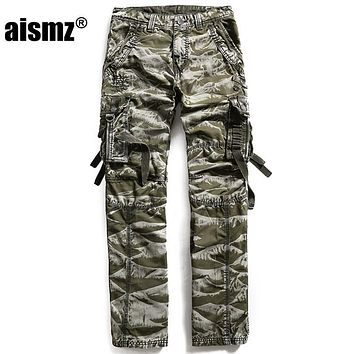 Aismz 100% Cotton Army Camouflage Multi Pocket Cargo Pants Men Military Work Trousers Militar Tactical Pants Brand-Clothing 3235
