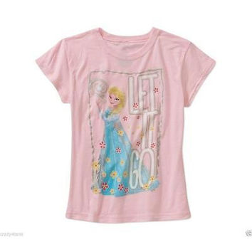 """Let It Go"" Pink Graphic Tee, Medium Disney"