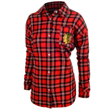 Chicago Blackhawks Wordmark Basic Flannel Long Sleeve Shirt Women's Sizes S-XL w/ Priority Shipping