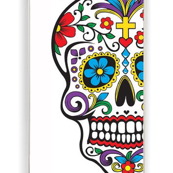 iPhone 4 Case - Hard (PC) Cover with Day of the Dead with flowers Plastic Case Design