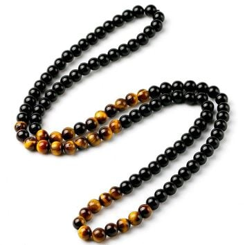 Black Onyx Men's Tiger Eye Stone Bead Necklace Fashion Natural Stone Jewelry New Design Handmade Gift