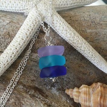 sea beach glass 6 pairs blue light blue cobalt purple-blue jewelry use