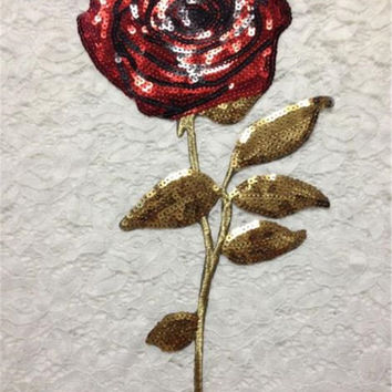 33*13 CM Rose Flowers Sequins Clothes Embroidered Iron on Patches for Clothing DIY Stripes Motif Appliques parches bordados
