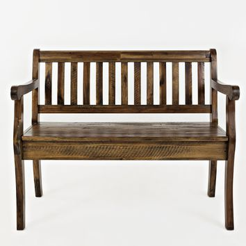 Slat Pattern Wooden Bench With Hidden Storage Space, Dakota Oak Brown