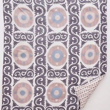 Anthropologie Yalova Suzani QUEEN Duvet Cover 2 Euro & 2 Standard Shams -5 Piece