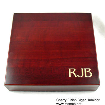 Birthday Gift for Men - Monogramed Cigar Humidor - Burl, Black or Cherry Finish - 20 Cigar Capacity