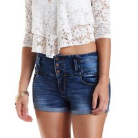 "Refuge ""Hi-Waist Shortie"" Cuffed Denim Shorts - Dark Wash Denim"