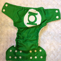 Green Lantern All In One (AIO) Cloth Diaper - One-Size or Newborn, S, M, L