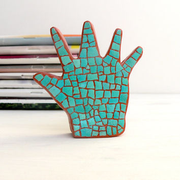 Mosaic Palm Hand Art Object Collectibles Home Decor Sculpture Bookshelf EggShell Mosaic Hamsa Green Turquoise Modern Judaica Double-Sided