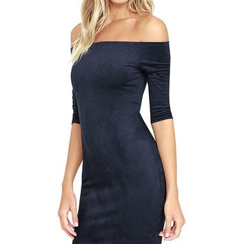 Still the One Navy Blue Suede Off-the-Shoulder Dress