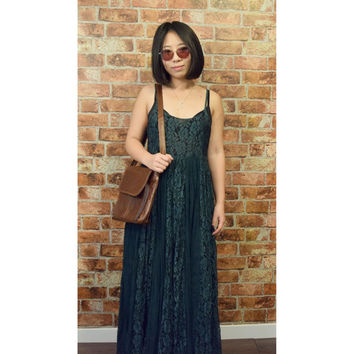 Sales 10% OFF and 10 Precent to the Charity Vintage 90s Nostalgia Dark Forest Green Bohemian Lace Maxi Dress