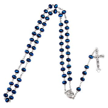 Dark Blue Glass Bead Catholic Rosary Necklace